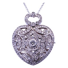 1.04 Carat 14 Karat Pave Set Heart Locket Pendant