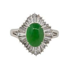 1.04 Carat Baguette Diamond Jade Center Cabochon Ring Platinum