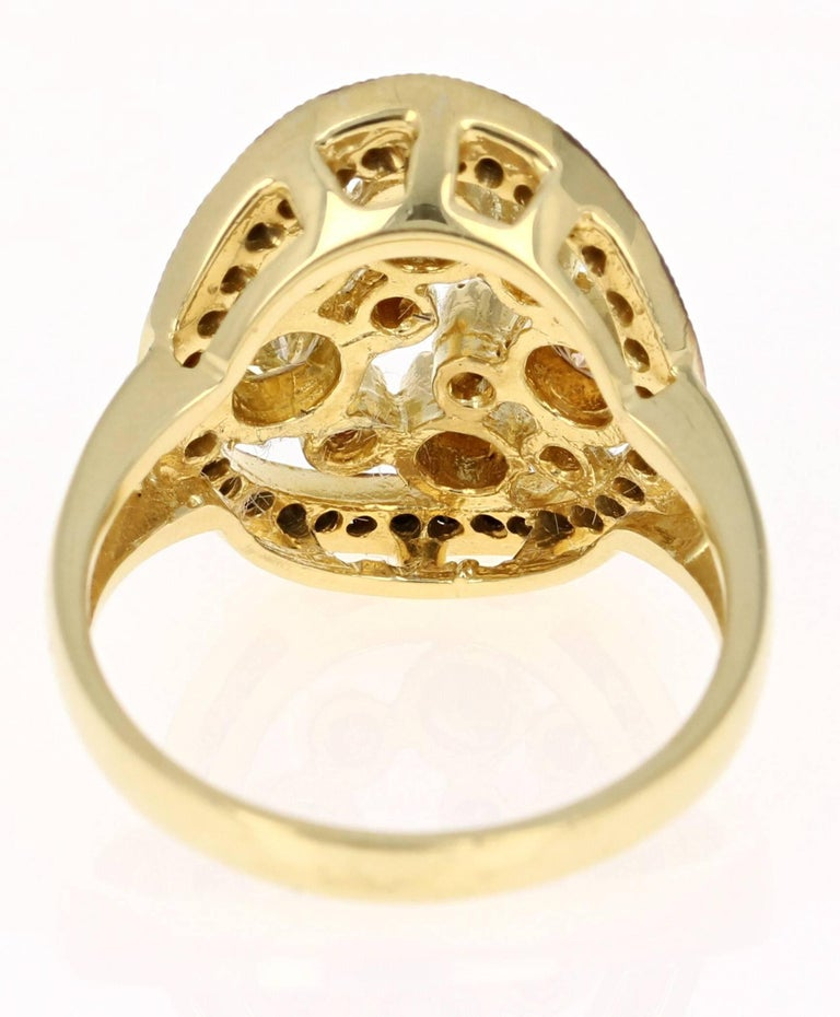 Modern 1.04 Carat Black and Fancy Colored Diamond Cocktail Ring 18 Karat Yellow Gold For Sale