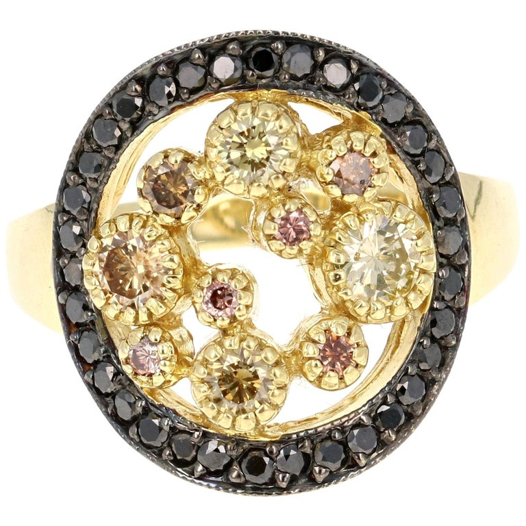 1.04 Carat Black and Fancy Colored Diamond Cocktail Ring 18 Karat Yellow Gold For Sale