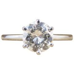 1.04 Carat Brilliant Cut Diamond Solitaire Ring in 18 Carat White Gold