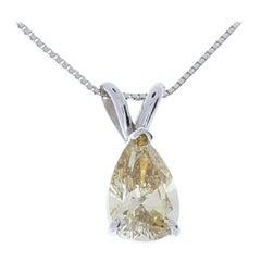 1.04 Carat Cognac Diamond Pear Pendant in 14 Karat White Gold
