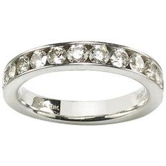 1.04 Carat Diamond and White Gold Half Eternity Ring