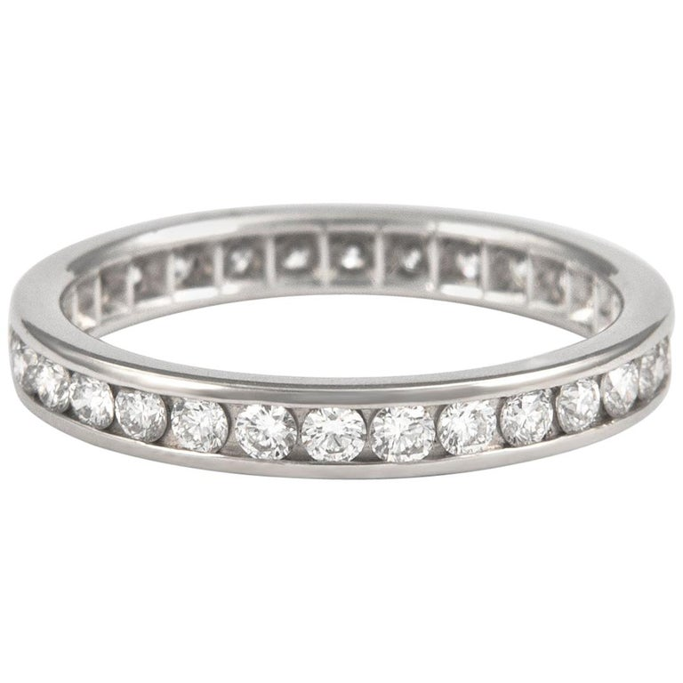 1.04 Carat Diamond Eternity Band Channel Set Platinum For Sale