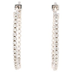 1.04 Carat Diamond Hoop Earrings 14 Karat White Gold