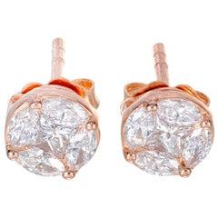 1.04 Carat Diamond Rose Gold Stud Earrings