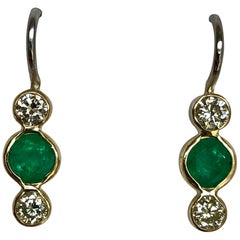 Emerald Diamond Gold 18 Karat & Platinum Dangle Earrings