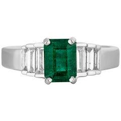 1.04 Carat Emerald Diamond Cocktail Ring