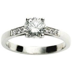 1.04 Carat F VS1 Round Brilliant-Cut Diamond and Platinum Ring GIA Certificate