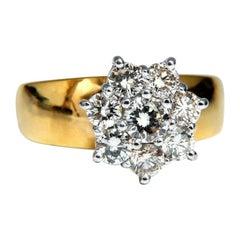 1.04 Carat Natural Diamonds Floating Cluster on Band Ring 14 Karat Vintage