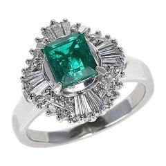 1.04 Carat Natural Emerald Step-Cut Emerald Ring with 0.54 Carat of Diamonds