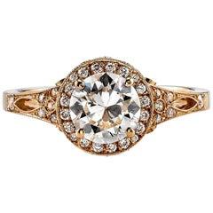 1.04 Carat Old European Cut Diamond Engagement Ring