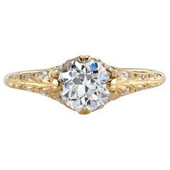 1.04 Carat Old European Cut Diamond in a Handcrafted Yellow Gold Engagement Ring