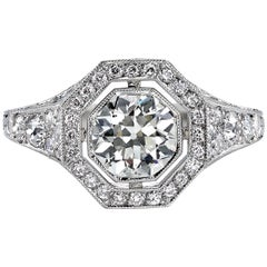 1.04 Carat Old European Cut Diamond Set in a Handcrafted Platinum Ring