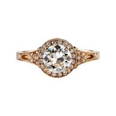 1.04 Carat Old European Cut Diamond Set in a Rose Gold Engagement Ring