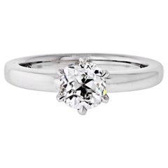 1.04 Carat Old Mine Cut Diamond G/VS2 GIA Solitaire Engagement Ring