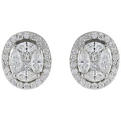 1.04 Carat Oval Shaped Diamond Earrings