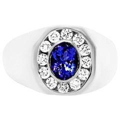 1.04 Carat Oval Tanzanite and Diamond Men's Ring