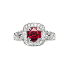 1.04 Carat Red Spinel Cushion Diamond Cluster Ring Natalie Barney