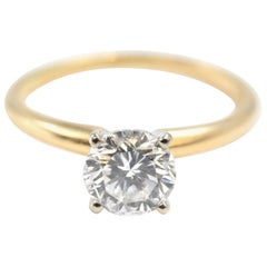 1.04 Carat Round Brilliant Cut Diamond 14k Yellow Gold Solitaire Engagement Ring