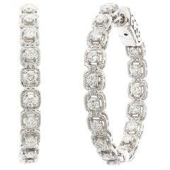 Grandeur 1.04 Carat Round Diamond Hoop Earrings in 14k White Gold