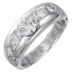 1.04 Carat Round Diamond Platinum Gypsy Style Band Ring