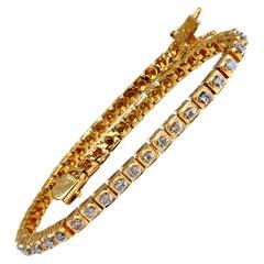 1.04 Carat Round Diamonds Vintage Retro Style Bracelet 14 Karat Gold