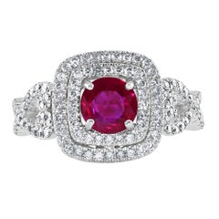 1.04 Carat Ruby and Diamond White Gold Cocktail Ring