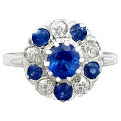 1.04 Carat Sapphire and Diamond, Platinum Cluster Ring, Antique