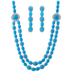 104 Carat Sleeping Beauty Turquoise Necklace and Earring Set, Bridal, 18 K Gold