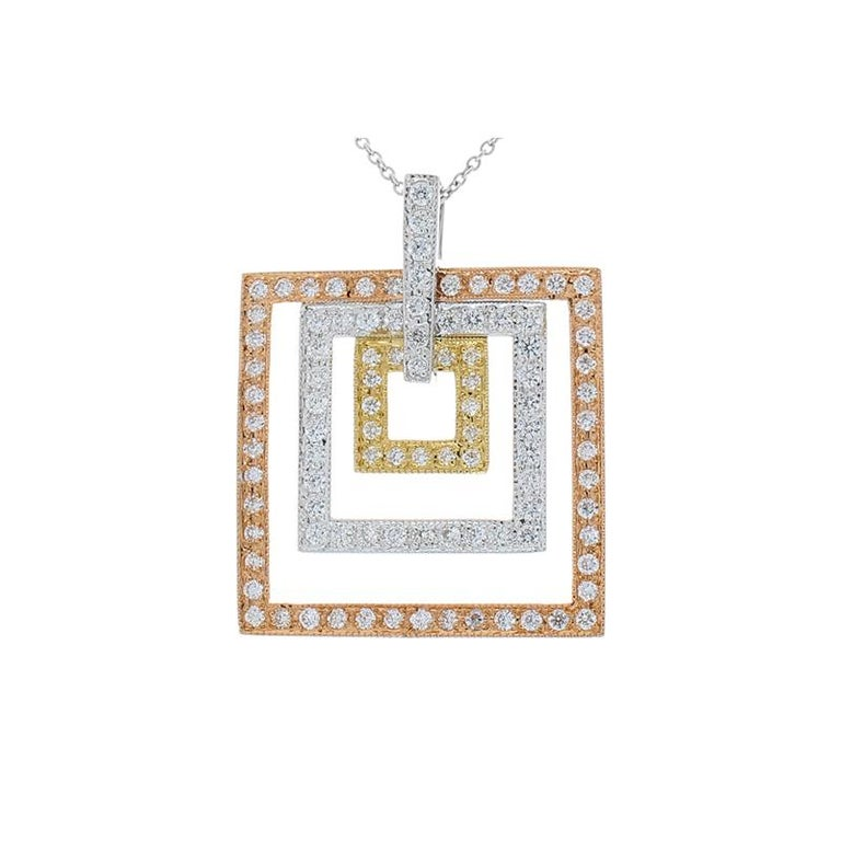 This is a pendant with a trio of color and a celebration of form. This beautiful concentric-design features 1.04 carats of brilliant diamonds that decorate the nested squares of this elegant pendant. An outer frame of 14k rose gold surrounds another