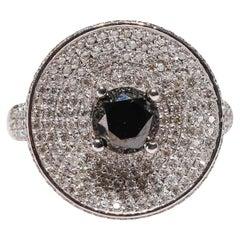 1.04 Ct Black Diamond 14k White Gold 1.01 Carat Cocktail Ring Art Deco Style