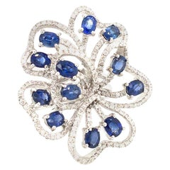 1.04 Diamond and 3.28 Blue Sapphire White Gold Flower Ring With Box