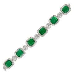 10.40 Carat Emeralds with Diamond Halo Link Bracelet 18 Karat in Stock
