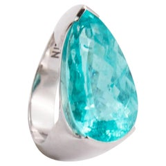 10.40 Carat Handmade White Gold Pear-Shaped Paraiba Tourmaline Cocktail Ring