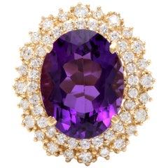10.40 Carat Natural Impressive Amethyst and Diamond 14 Karat Yellow Gold Ring