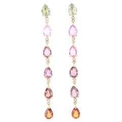 10.40 Carat Sapphire Diamond 18 Karat Yellow Gold Earrings