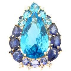 10.40 Carat Swiss Blue Topaz Tanzanite Sapphire and Diamond Ring