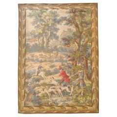 1040, Vintage Aubusson Style Tapestry Hunting Drawing, France