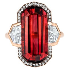 10.41 Carat Decagonal Rubellite Diamond Cocktail Ring in 18 Karat Red Gold