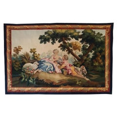 1041, Luxurious French Aubusson Tapestry 19th Century Romantic Design