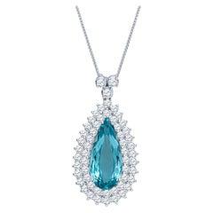 10.43 Carat Pear Shape Aquamarine Set in a 14 Karat Gold 4 Carat Diamond Pendant