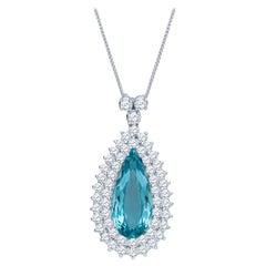 10.43 Carat Pear Shape Aquamarine Set in a 14k White Gold 4ctw Diamond Pendant