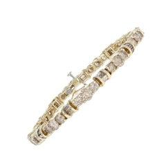 10.44 Carat Round Brilliant Diamond Bracelet, 10 Karat Gold Champagne Brown Link