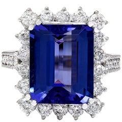 10.44 Carat Tanzanite 18 Karat Solid White Gold Diamond Ring