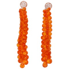 104.40 Ct Briolette Orange Spessartite Garnet Grape Drop Earrings 14K Rose Gold