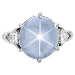10.46 Carat NO HEAT Burmese Star Sapphire and Diamond Ring in Platinum