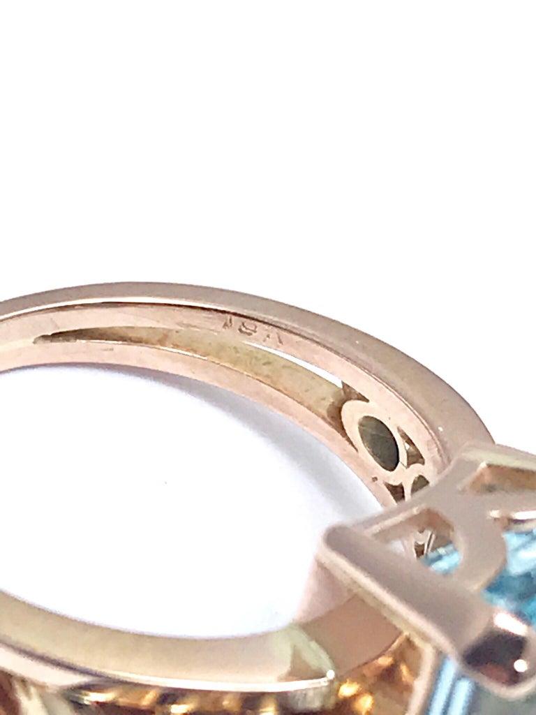 10.46 Carat Emerald Cut Aquamarine and Round Diamond Rose Gold Retro Ring 8