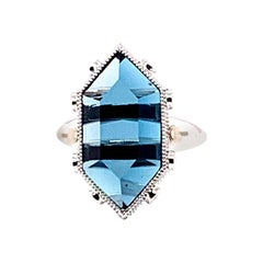 10.46 Carat London Blue Topaz Ring in 18 Karat White Gold with Diamonds & Pearls