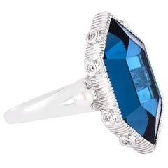 10.46 Carat London Blue Topaz Ring in 18 Karat White Gold with Diamonds & Pearls